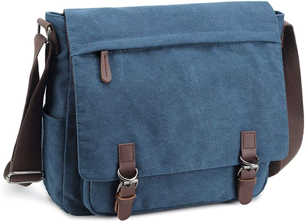 Messenger Bag for Men Retro Canvas Shoulder Bag Satchel casual Business Briefcases fit 13.3 15.6 Inch Laptop