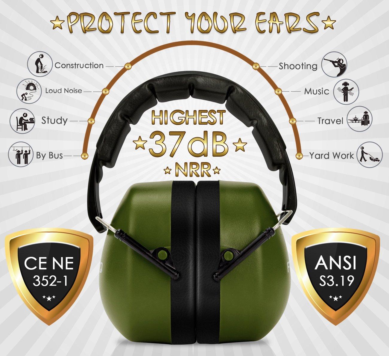 FRiEQ 37 dB NRR Sound Technology Safety Ear Muffs with LRPu Foam for Shooting, Music & Yard Work, Green by FRiEQ (Image #3)