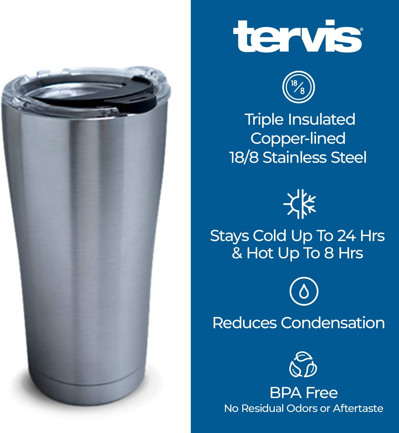 B079KQG5K4 Tervis 1277170 Duke Blue Devils Knockout Stainless Steel Tumbler with Clear and Black Hammer Lid 20oz, Silver 61HPCaDah1L