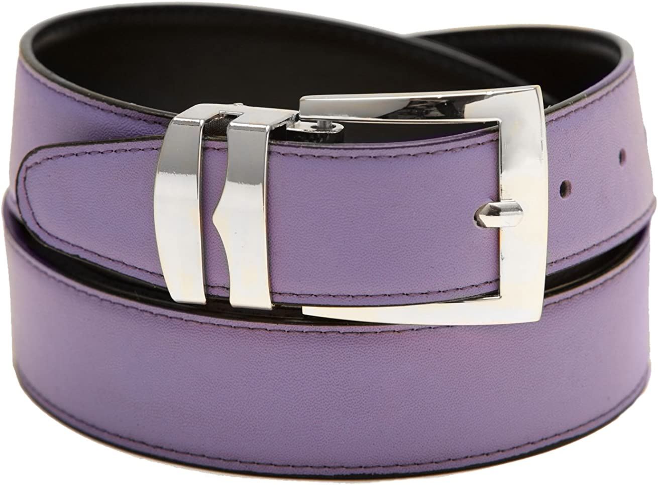 Mens Belt Reversible Wide Bonded Leather Silver-Tone Buckle LILAC//Black