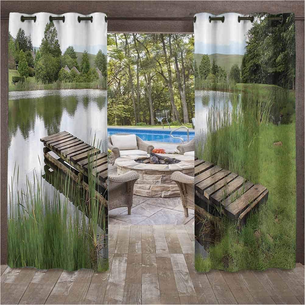 Wooden Bridge Decor Collection Fashion Curtains Outdoor UV Protection Ancient Italian Street in Small Provincial Town of Tuscan Italy Europe 112W x 95L Inch