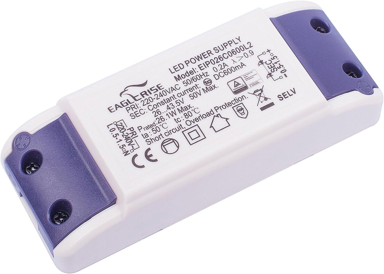 26 W Blanc Plastique,et Autre materiaux EAGLE RISE DRI.7018 Transformateur 600mA 26W Bornier EIP026C0600L2