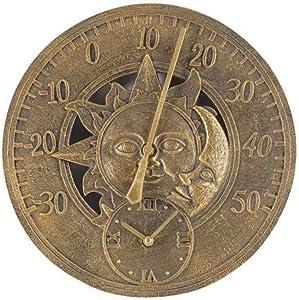 """Smart Garden Sun & Moon Wall Clock & Thermometer Outdoor Garden Clock 12"""" Weatherproof"""