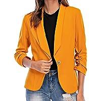 Aladuo Women 3/4 Sleeve Blazer Open Front Cardigan Jacket Work Office Blazer