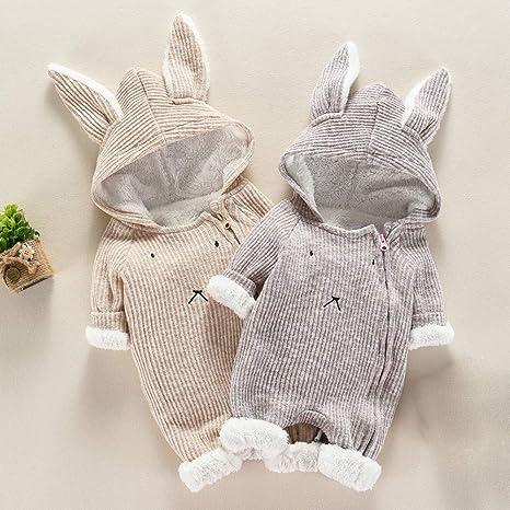 Amazon.com: Matoen Baby Boy Girl Cartoon Hooded 3D Ear Romper Plus Warm Jumpsuit Clothes: Clothing