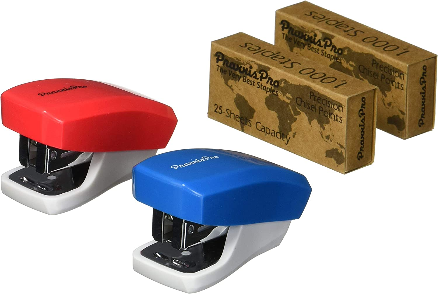 PraxxisPro, Mini Staplers, Built in Staple Remover, Staples 2 to 18 Sheets. Set of 2 (Blue, Red) …
