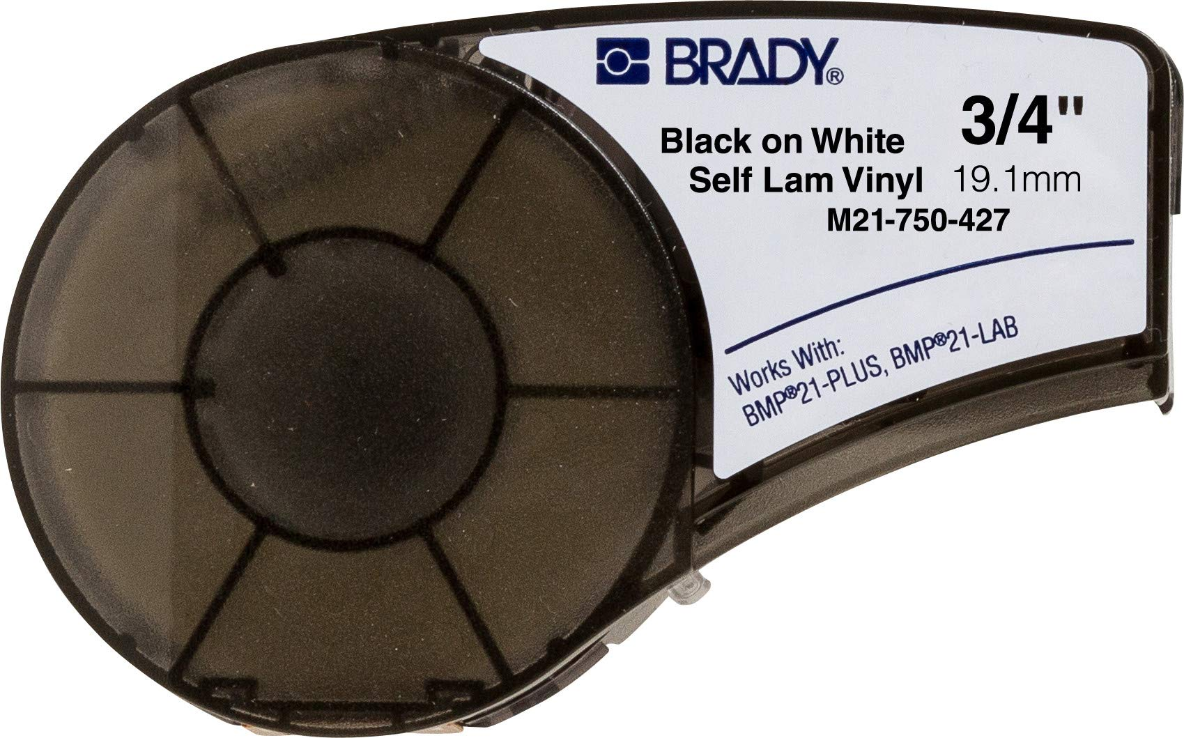 Brady Self-Laminating Vinyl Label Tape (M21-750-427) - Black on White, Translucent Tape - Compatible with BMP21-PLUS Label Printer - 14' Length.75'' Width