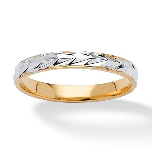 Neno Buscotti Anillo de boda bicolor - Bañado en oro de 14k - Relieve - 29