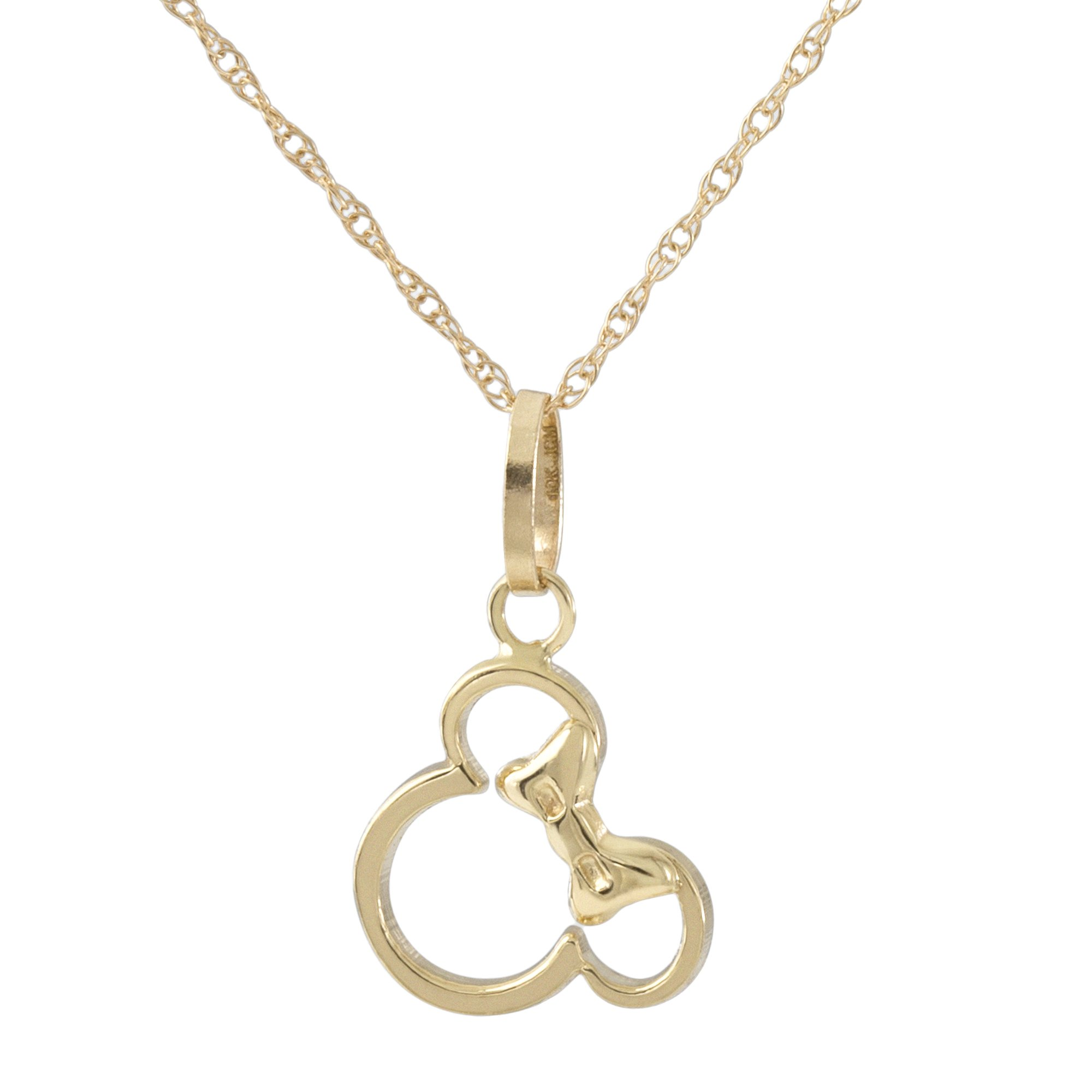 Disney Women's and Girls Jewelry Minnie Mouse 14k Yellow Gold Pendant Necklace,18'' Mickey's 90th Birthday Anniversary