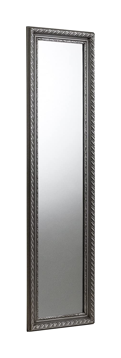 Julian Bowen Allegro Wall Hanging Dress Mirror, Hardwood Frame with Resin Moulding, Pewter MIR001