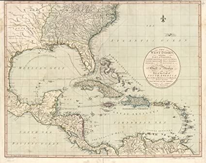 Amazon Com Vintage 1783 Map Of The West Indies Including Part Of