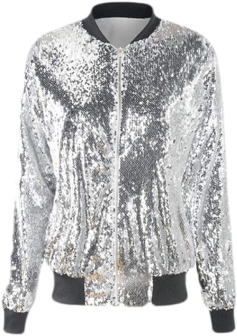 Joe Wenko Womens Bomber Sequin Baseball Zipper Front Casual Glitter Jacket