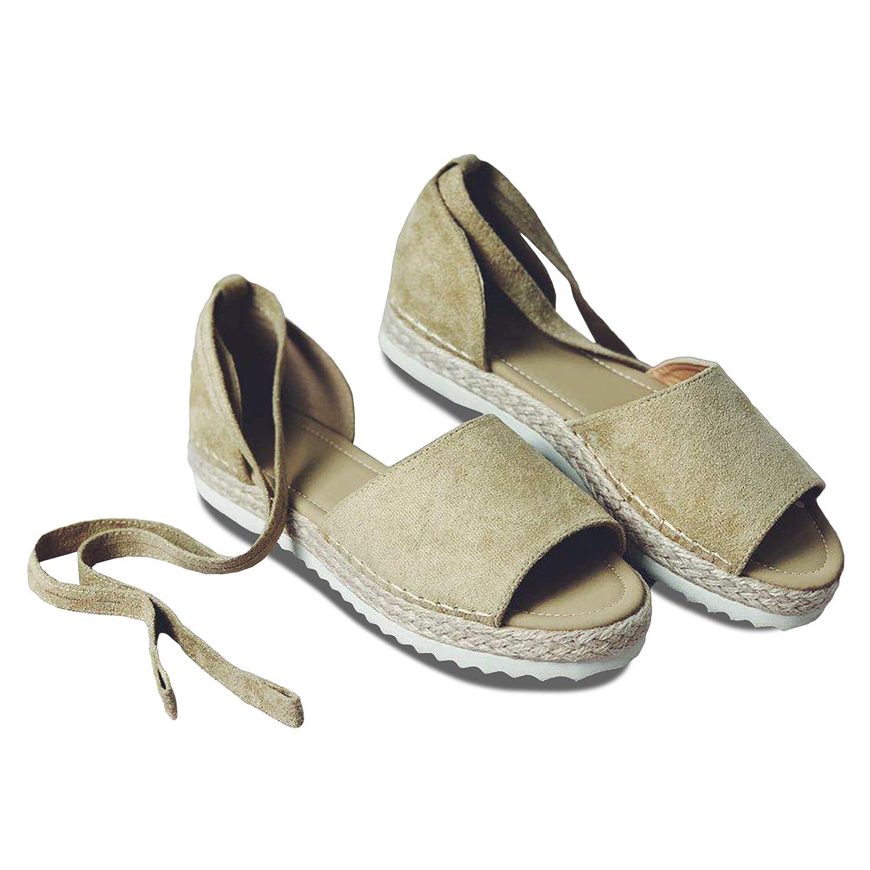 B-khaki Syktkmx Womens Espadrilles Lace Up Flat Platform Ankle Strap Wrap Summer D'Orsay Sandals