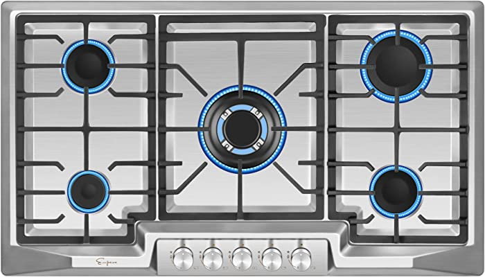Empava 36XGC881 36 Inch Stainless Steel Gas Professional 5 Italy Sabaf Burners Stove Top Certified with Thermocouple Protection Cooktops, Silver