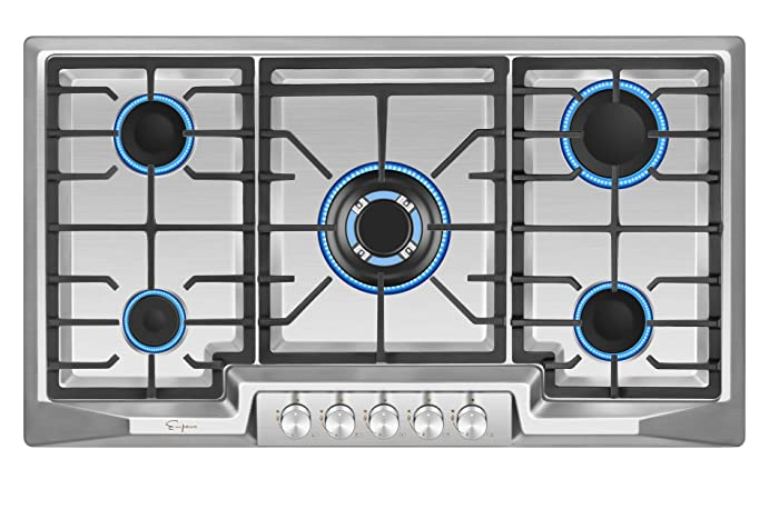 "Empava 36"" Stainless Steel 5 Italy Sabaf Burners Stove Top Gas Cooktop EMPV-36GC881"
