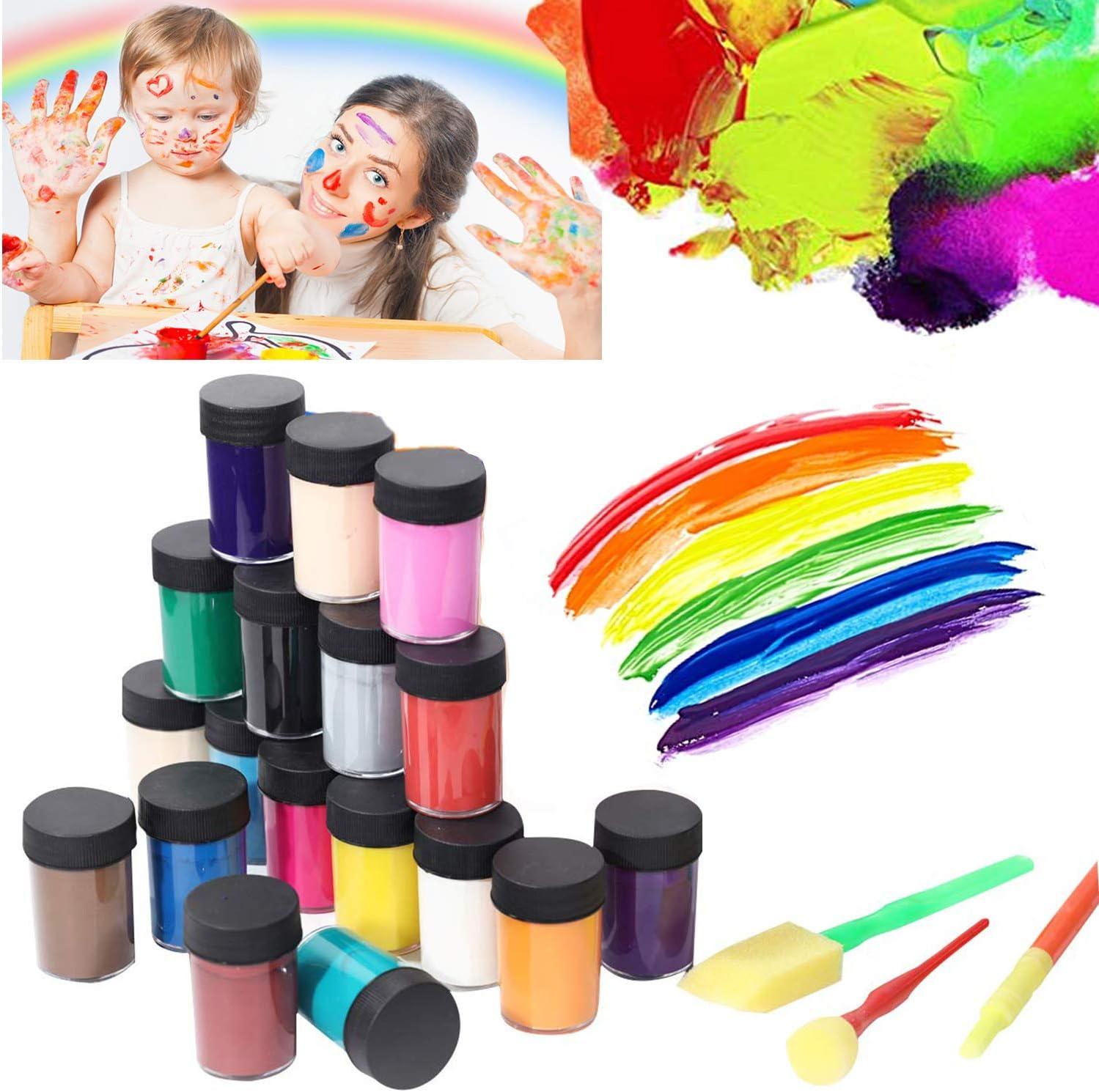 Imoli 18 Colori Per Pittura A Tempera Lavabile Set Di Pigmenti Per Pittura Liquida Con Pennelli In Spugna Per Arti Poster Progetti Artigianali Amazon It Casa E Cucina