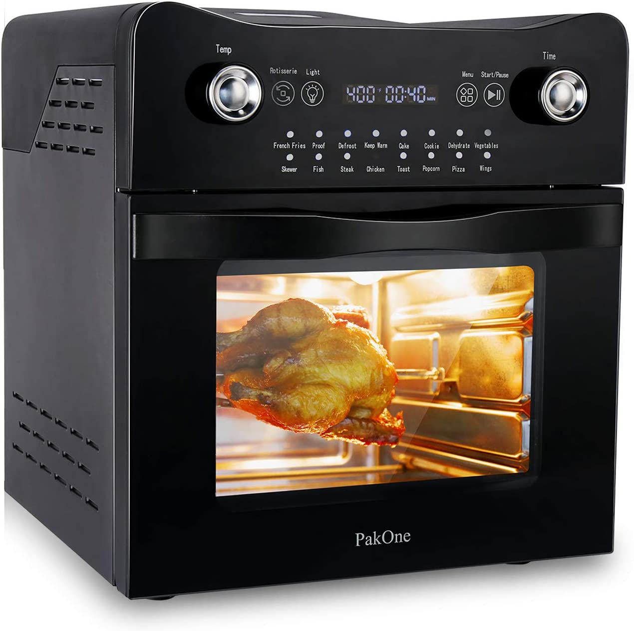 PakOne Air Fryer Oven, 16.8 Quart Electric Toaster Oven w/Rotisserie and Dehydrator, 1800W Electric Air Oven with LED Touch Screen Controls, 16-in-1 Countertop Oven, 9 Accessories ETL Listed(31 Recipes)