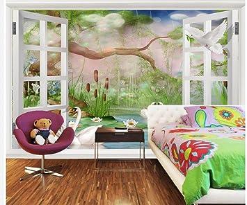 Wapel 3d Customized Wallpaper Swan Tv Backdrop Scenery Outside The
