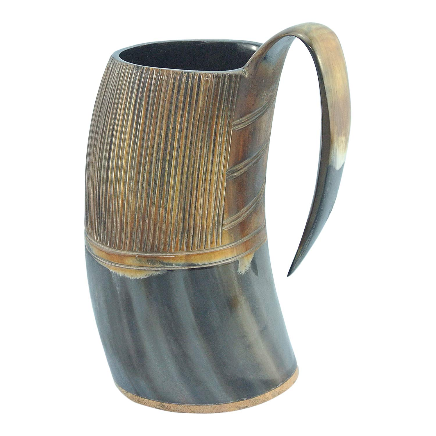 Mythrojan Viking Drinking Horn Tankard with Medieval Buckle leather strap Wine Beer Mead Mug 750 ML - Polished Finish