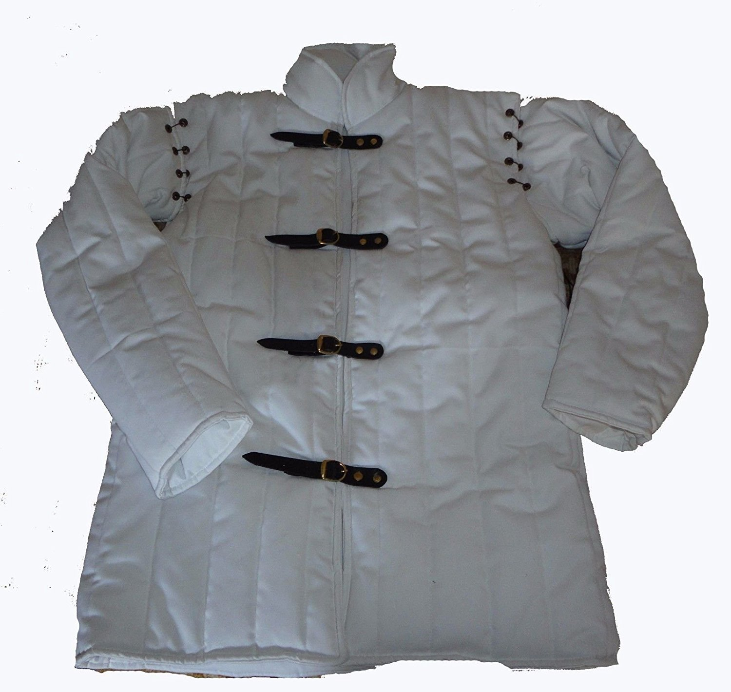Medieval Thick Padded Gambeson Coat Aketon Jacket Armor - White, 6X-Large by Souvenir India