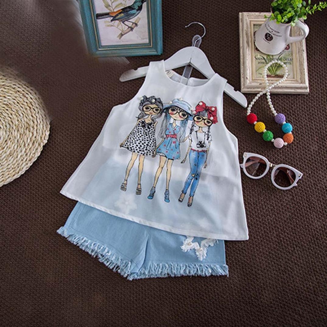 Pantalons Courts Ensembles pour Enfant Fille 2-7 Ans Amlaiworld ❤️Ensembles de B/éb/é Filles V/êtements de Tenue d/ét/é de Filles Print Gilet Mmousseline de Soie T-Shirt