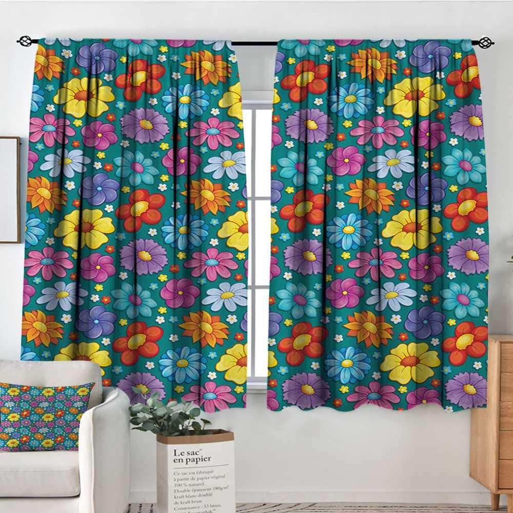 color08 42 W x 45 L Elliot Dgoldthy Blackout Curtains Kids,Funny Transportation Toys with Train Car Airplane Horn Balls Auto Tire Cartoon Design,Multicolor,for Room Darkening Panels for Living Room, Bedroom 42 x54