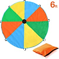Parachute, Magicfly 6 Feet for Kids Parachute with 8 Handles for Kids Play, Kids Games, Outdoor Games, Outdoor Toys