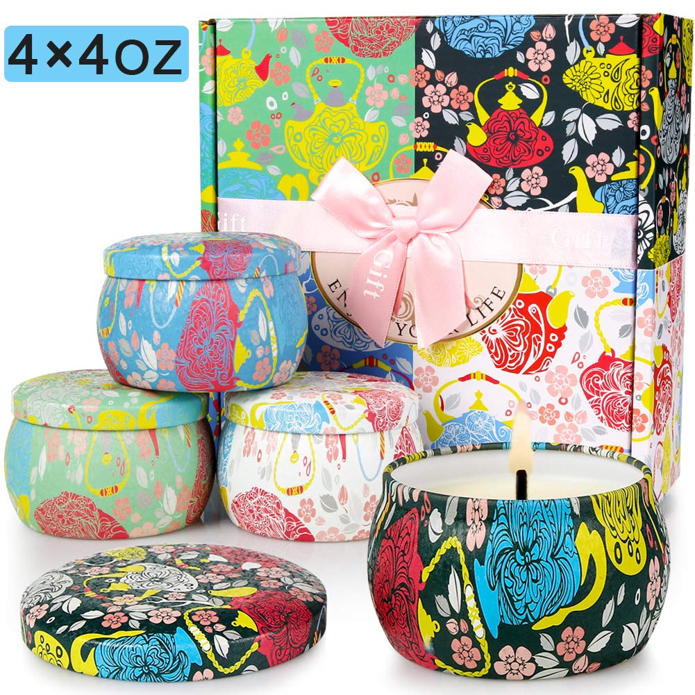 Candles Scented Candles Candle Gift Set 4 Iron Pots Natural Soy Wax Flowers Scent 120 Hours Burning Time Aromatherapy Candle for Relax Sweet Dream Clean Air and Yogaa (Gardenia Etc)