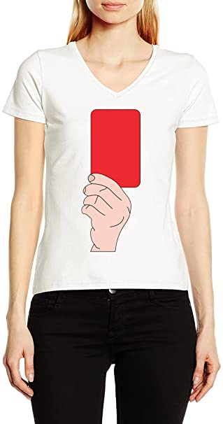 Fútbol Tarjeta Roja V-Cuello Camiseta Para Mujer Blanco ...