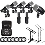 CAD Audio Stage7 Premium 7-Piece Drum Instrument Mic Pack with Vinyl Carrying Case + 2 Mic Stands & 2 Kick Stands + 7…
