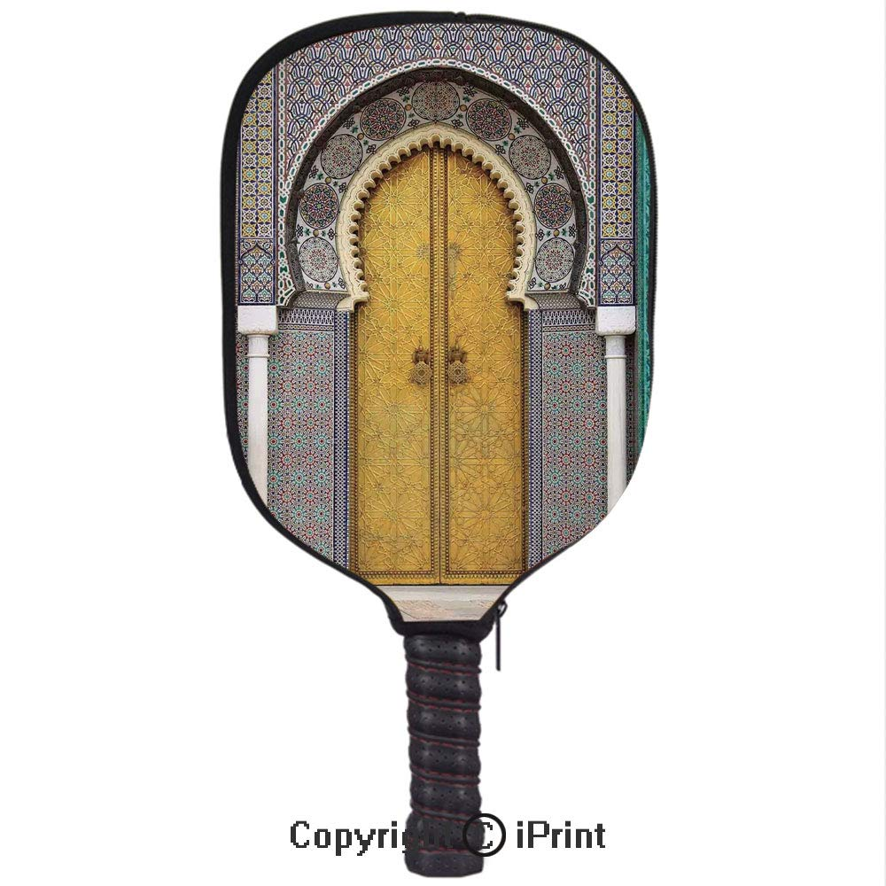 Amazon.com : Lightweight Neoprene Single Pickleball Paddle Cover, Golden Door of Royal Palace in FES Morocco Vintage Moroccan Artwork Mosaic ...