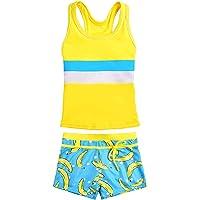 vastwit 2pcs Kids Girls Tankini Adjustable Straps Swimwear Swimsuit Bathing Suit Set Tops with Sunflower Bottoms