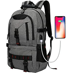 Laptop Backpack, Tocode Travel Backpack Contains Multi-Function Pockets,Stylish Anti-Theft School Bag with USB Charging Port Fits 17.3 Inch Laptop Comfort Pack for Men & Women –Dark Grey