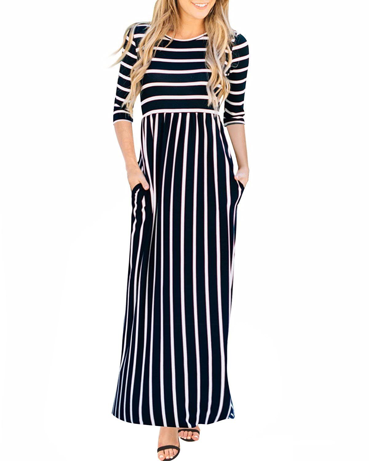 444e52dd4e Features: Long striped dress, Elastic waist, Side pockets, Full length,  Light weight, Scoop neck ,Boho style, Flare dress. Occasion: Suit for  casual wear, ...