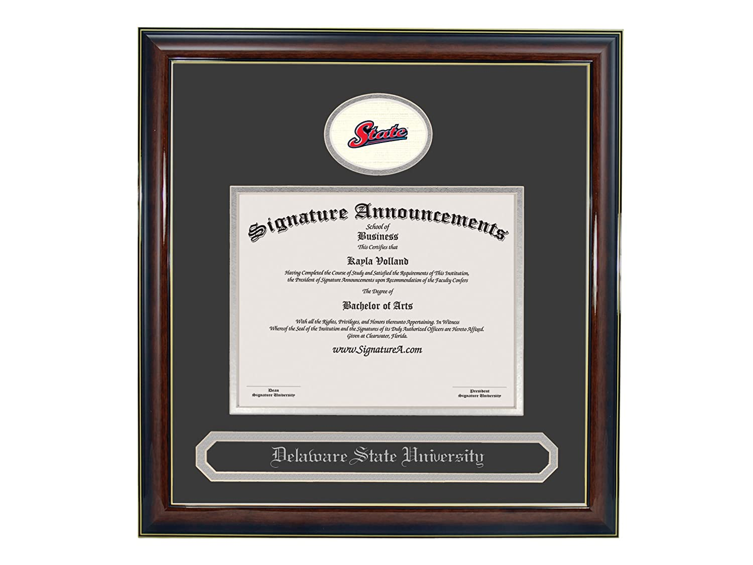 Signature Announcements Delaware State University Undergraduate Sculpted Foil Seal /& Name Graduation Diploma Frame 16 x 16 Gloss Mahogany with Gold Accent