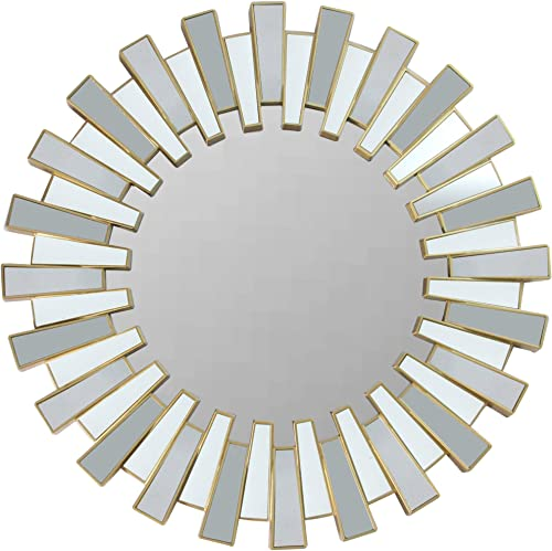 Northlight 25.5 Aztec Sunburst Matte Gold Round Wall Mirror