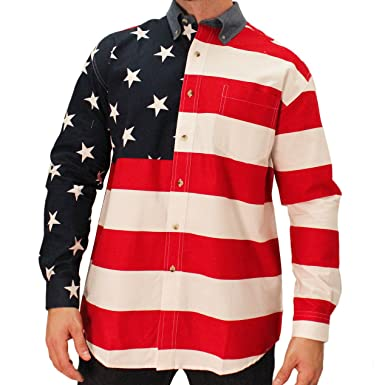 1e1c03adc Amazon.com: The Flag Shirt Men's Woven Long Sleeve American: Clothing