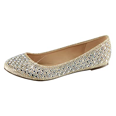 3576267ba0ea Summitfashions Womens Dress Flats Nude Glitter Mesh Fabric Round Toe Silver  Rhinestone Shoes Size  5