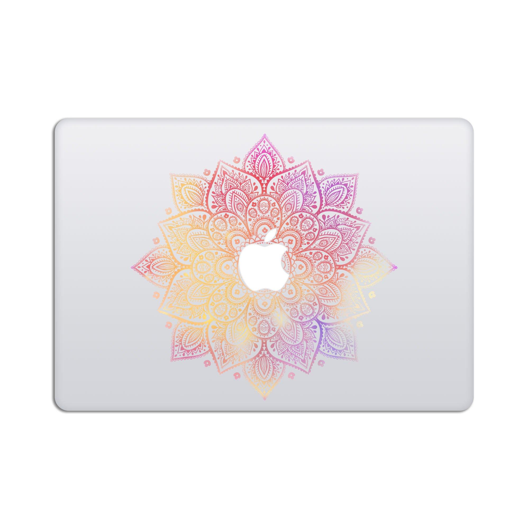 Laptop Stickers MacBook Decal - Removable Vinyl w/Glowing Apple Logo Diecut - Mandala Decal Milky Way Colorful Skin for MacBook Air Pro 13 15 inch Mac Retina - Best Decorative Sticker by Artsybb