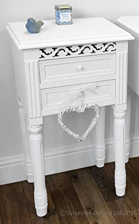 pretty white bedside table with drawers