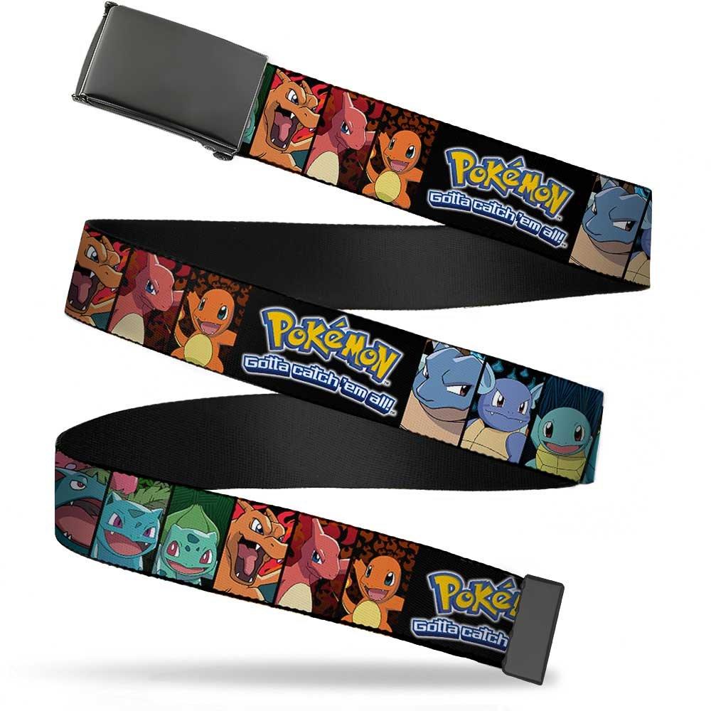 Pokemon Animated TV Series Starter Evolutions Web Belt Buckle Down