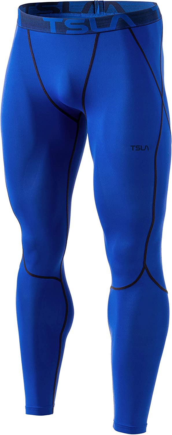 TSLA 1, 2 or 3 Pack Men's UPF 50+ Compression Pants, UV/SPF Running Tights, Workout Leggings, Cool Dry Yoga Gym Clothes