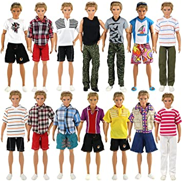 Miunana 3 Traje de Ropas Hecha a Mano Casual con Deportivo Verano Fashion Camisas y Pantalones Cortos para Novio Ken Muñeco Barbie Doll Estilo ...
