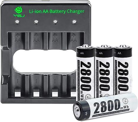100/% PeakPower Premium Akku Ladeger/ät NiMH AA//AAA Batterieladeger/ät mit Einzelschacht-Ladung und LCD-Display und 4 Akkus AA 2300mAh