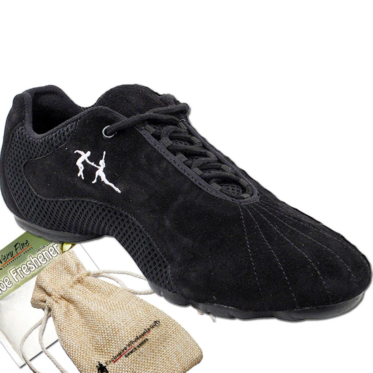 Men's Women's Unisex Practice Dance Sneaker Shoes Split Sole Black Suede VFSN016EB Comfortable - Very Fine 11 M US [Bundle of 4]