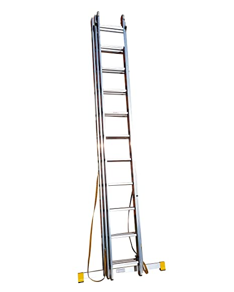 6.26m Trade Master 3 Section Extension Ladder/Ladders with Integral ...