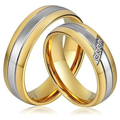 c52c2cafc ANAZOZ Stainless Steel Wedding Bands 6MM Gold Plated Engagement Rings  Silver for Men