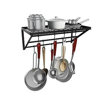 Soporte de pared para cocina, estante de almacenamiento, organizador de sartenes con gancho para utensilios de cocina, utensilios, sartenes, ...