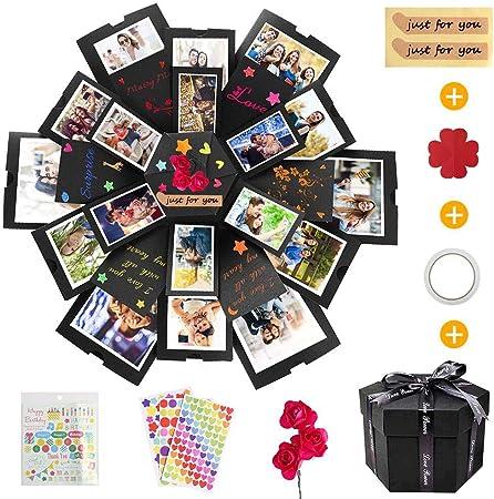 KIPIDA Explosion Box, Caja Sorpresa Creativa 6 Caras Caja de Regalo de áLbum Hecha a Mano Creativa áLbum De Recortes DIY, Aniversario de CumpleañOs,ValentíN,Boda,áLbum de Fotos para Mujer Novio Niños: Amazon.es: Hogar