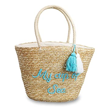 Amazon.com: Hogoo Woven Tote Bag for Women Straw Summer ...